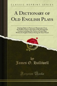 A Dictionary of Old English Plays - copertina