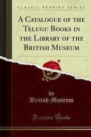 A Catalogue of the Telugu Books in the Library of the British Museum - copertina