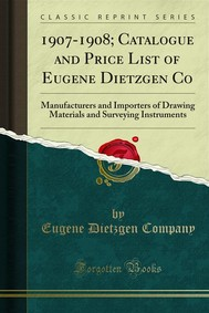 1907-1908; Catalogue and Price List of Eugene Dietzgen Co - copertina