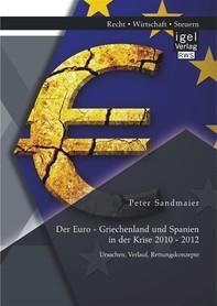 Der Euro - Griechenland und Spanien in der Krise 2010 - 2012: Ursachen, Verlauf, Rettungskonzepte - Librerie.coop