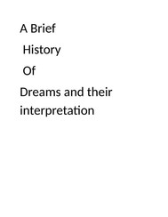A brief history of dreams and their interpretation - copertina