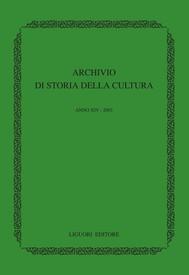 Archivio di storia della cultura - copertina