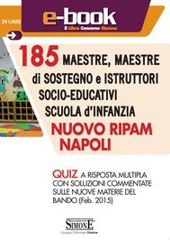 185 Maestre, maestre di sostegno e istruttori socio-educativi Scuola d'infanzia - Nuovo RIPAM Napoli - Quiz - copertina