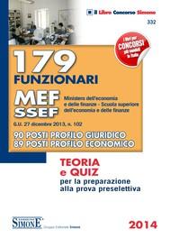 179 funzionari MEF - SSEF (Ministero dell'Economia e delle Finanze Scuola superiore dell'Economia e delle Finanze) - copertina