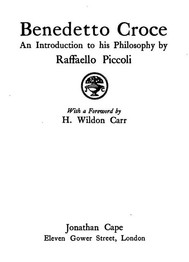 Benedetto Croce / An Introduction to his Philosophy - copertina