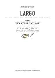 """Antonín Dvořák Largo (from """"New World Symphony"""") for Wind Quintet - copertina"""