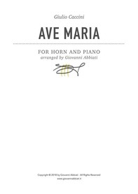 Giulio Caccini Ave Maria for Horn and Piano - Librerie.coop