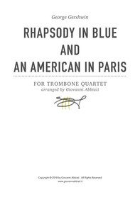George Gershwin Rhapsody in Blue and An American in Paris for Trombone Quartet - Librerie.coop