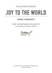 "Georg Friederich Händel Joy to the World (from ""Messiah"") for Saxophone Quartet - Librerie.coop"