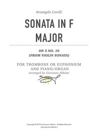Arcangelo Corelli Sonata in F Major Op. 5 No. 10 for Trombone or Euphonium and Piano or Organ (from Violin Sonata) - Librerie.coop