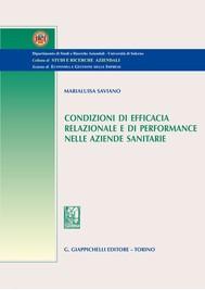 Condizioni di efficacia relazionale e di performance nelle aziende sanitarie - copertina