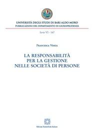 La responsabilità per la gestione nelle società di persone - copertina
