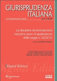 La disciplina dei licenziamenti nel primo anno di applicazione della Legge n. 92/2012 - Librerie.coop