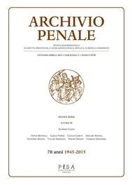 Archivio Penale 1/2015 - copertina