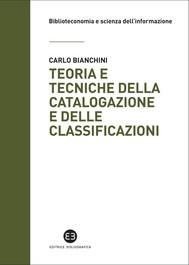 Teoria e tecniche della catalogazione e delle classificazioni - copertina