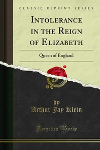 Intolerance in the Reign of Elizabeth - Librerie.coop