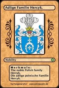 The noble Polish family Hercyk. Die adlige polnische Familie Hercyk. - Librerie.coop