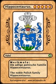 Die adlige polnische Familie Hippocentaurus. The noble Polish family Hippocentaurus. - Librerie.coop