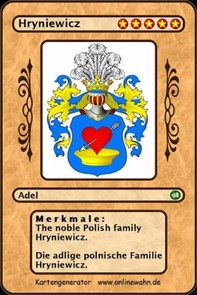 The noble Polish family Hryniewicz. Die adlige polnische Familie Hryniewicz. - Librerie.coop