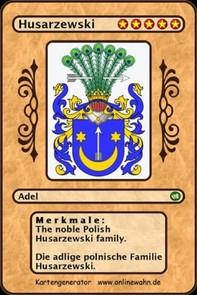 The noble Polish Husarzewski family. Die adlige polnische Familie Husarzewski. - Librerie.coop
