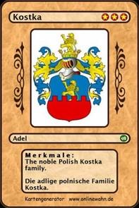 The noble Polish Kostka family. Die adlige polnische Familie Kostka. - Librerie.coop