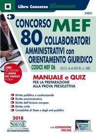 Concorso MEF - 80 Collaboratori Amministrativi con orientamento giuridico - Manuale e Quiz - Librerie.coop