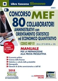 Concorso MEF - 80 Collaboratori Orientamento Statistico-Economico Quatitativo - Manuale - Librerie.coop